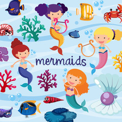 Background design with cute mermaids underwater
