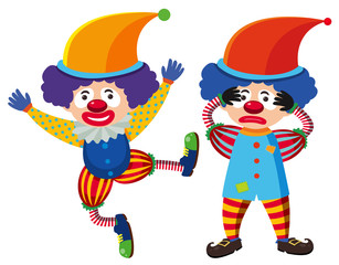 Two circus clowns in colorful costume
