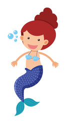 Cute mermaid with blue fin