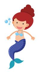 Cute mermaid with blue fin
