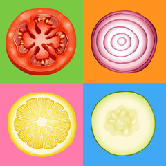 Four slices of different vegetables