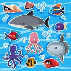 Sticker templates with sea animals underwater