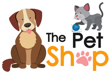 Pet shop poster design with cat and dog