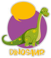 Dinosaur sticker design with brachiosaurus