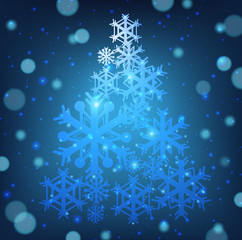 Christmas card with snowflakes shape of christmas tree
