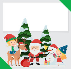 Border template with Santa and children