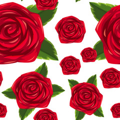 Seamless background template with red roses