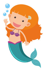 Cute mermaid waving hand