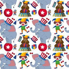 Seamless background with clown and circus animals