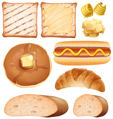 Breakfast set with toasted and hotdog