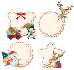 Four labels with christmas theme