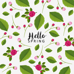 Hello spring poster design with pink flowers