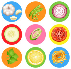 Badge design with many vegetables