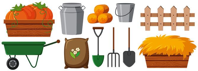 Different gardening equipments on white background