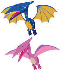 Two pterosaurs in blue and pink