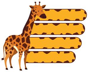 Banner template with wild giraffe