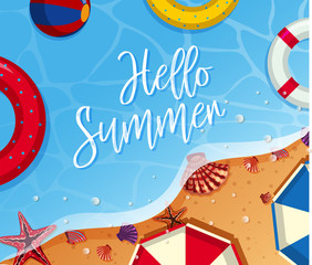 Summer background theme with toys on the beach