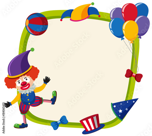 Border template with funny clown and balloons\