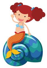 Beautiful mermaid waving hand