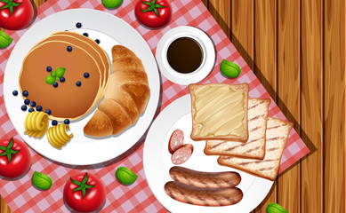 Breakfast set on wooden table