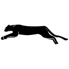 Vector image of a jumping leopard silhouette