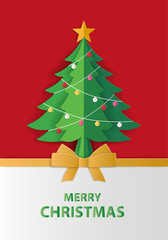 Merry Christmas and winter season greeting card. Christmas tree with lighting decoration on red background. Paper art style.