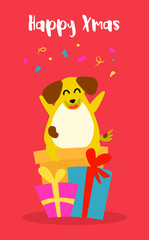 Cartoon yellow dog with gifts and confetti on red background. Flat style. Vector christmas card.