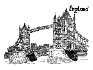 sketch english bridge on the river vector work
