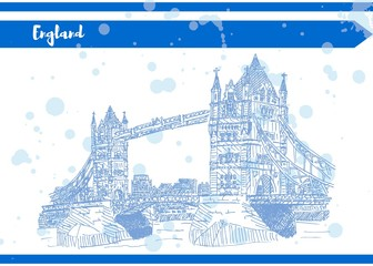sketch english bridge on the river vector work Blue