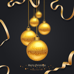 Vector modern Christmas or 2018 Happy New Year winter holiday invitation card. Festive Christmas Background. Golden christmas greeting card.