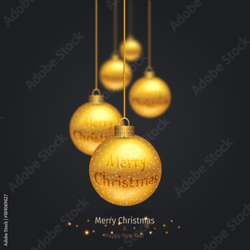Christmas Invitation Background Gold.Vector Modern Christmas Or 2018 Happy New Year Winter