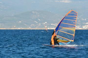 Man Windsurfing Sea Beach Winter Sport