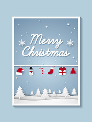 Merry Christmas and Happy New Year , picture of winter landscape with ornaments hanging , paper art style