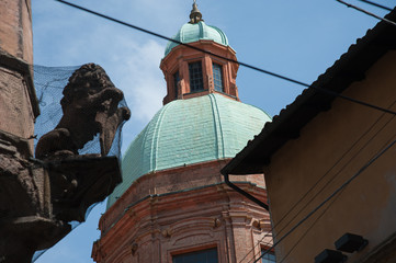 The Asinelli Tower and San Bartolomeo church, Bologna