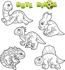 cartoon cute dinosaurs, set of images