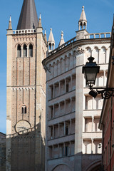 The baptistery and the bell tower of the Parma cathedral