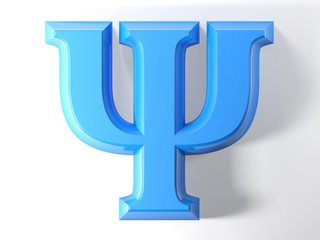 Blue 3D Psychology symbol - 3D rendering