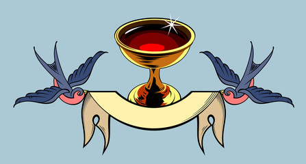 The Holy Grail, Swallows carrying a banner. Old school tattoo style
