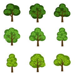 Set of vector seasoned trees, flat style