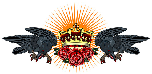 Portrait of a raven with a golden crown