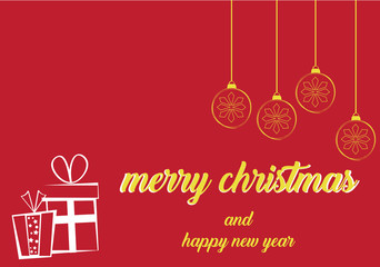 merry christmas and happy new year with golden christmas bulb in red background
