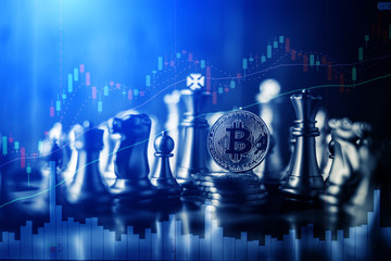 Being rich by Bitcoin strategy trading concept. business strategy ideas concept with bitcoin and chess board game