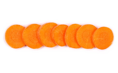 Carrot isolated on white background, top view