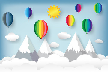 Colorful balloons on the hill mountain with clouds and blue sky travel background as freedom, paper art and craft style concept. vector illustration.