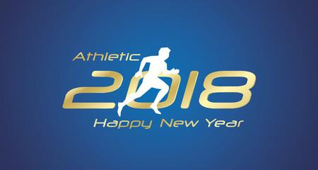 Athletic run 2018 Happy New Year gold logo icon blue background