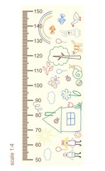 Measure growth, measure children's drawings, height(in proportion 1:4)
