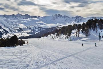 View of flat descent in ski resort.