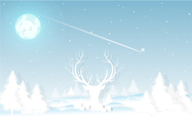 Christmas and New Year background. Decorated  with winter landscape, snowflakes, light, stars, fir tree , mountain, reindeer. Moon. greeting card. vector Illustration.