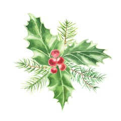 Watercolor hand drawn Christmas bouquet, fir branches with holly green leaves and red berries, isolated on white background. Winter holidays festive design.