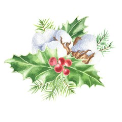 Watercolor hand drawn Christmas bouquet, holly leaves and berries, fir branches with cotton, isolated on white background. Winter holidays festive design.